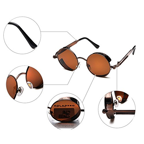 2c2b974442c ROCKNIGHT Round Polarized Sunglasses Gothic Steampunk Brown Unisex  Sunglasses