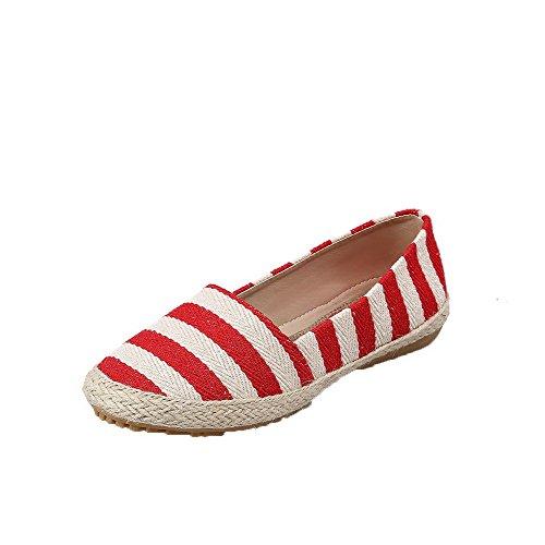AgooLar Damen Gewebe Niedriger Absatz Ziehen auf Gemischte Farbe Pumps Schuhe Rot