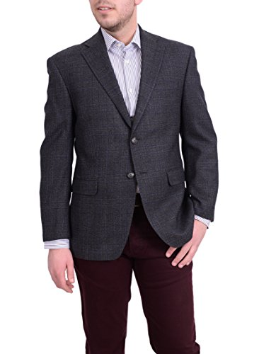 Ital Uomo Regular Fit Charcoal Gray & Blue Plaid Flannel Wool Blazer Sportcoat