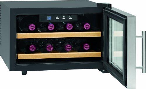 Profi Cook PC-WC 1046 Weinkühlschrank / 28 cm / 104 kWh/Jahr / Flaschenkapazität: 8  circa 0.75 Liter / Bedienfeld mit LED-Display / blau beleuchtet  / inox