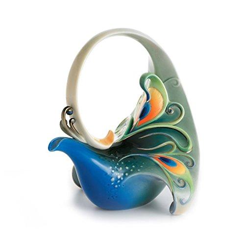 Franz Porcelain Luminescence Magnificent Peacock Design Sculptured Porcelain Teapot