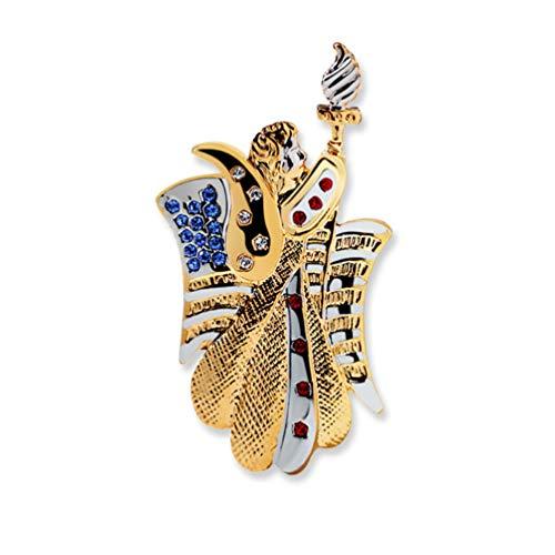 YYOGG Brooch Statue of Liberty Torch Badge Brooch Two-Tone Gold Pin