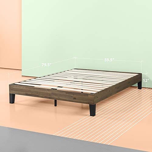 Zinus 12 Inch Acacia Wood Platform Bed, No Boxspring Needed, Wood slat support, Queen