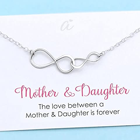 Mother and Daughter Necklace • Personalized Gift for Mom • Sterling Silver Double Infinity • Family Charm • Jewelry with Meaning • Infinite - Mom Jewelry