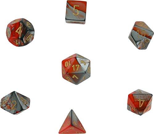Chessex CHX26461 Dice-Gemini Orange-Steel/Gold -