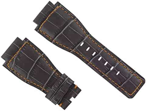 44b5dc59b Ewatchparts 24MM Leather Watch Band Strap for Bell & Ross BR-01-03 Grey