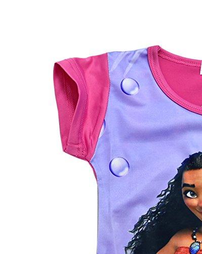 ZHBNN Moana Girls Nightgown Cartoon Pajamas Princess Dress(Rose,100/2-3Y) by ZHBNN (Image #2)