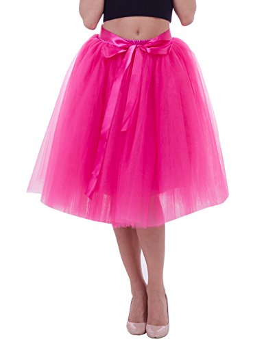 Women's Solid A Line Midi/Knee Length Tutu Skirt 6 Layered Pleated Tulle Petticoat Dance Tutu(Hot pink),One Size for $<!--$22.90-->