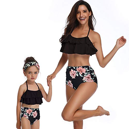 (Happy Cherry Two Piece Swimsuit for Parent and Child Floral Print Bikini Sets Mother and Daughter Bathing Suit L Black)