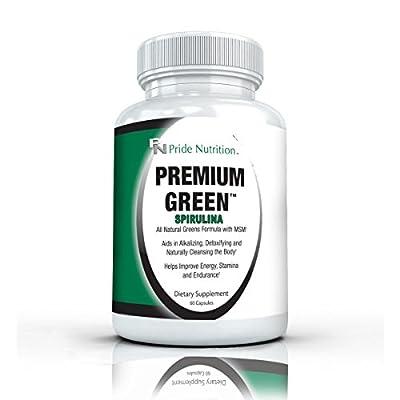 Spirulina Superfood Supplement- Premium Green 60 Capsules- Plus Green Tea, MSM, Barley Grass, Milk Thistle, Quercetin, Alfalfa & Bromelain