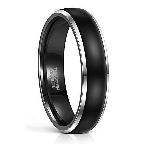 Frank S.Burton 8MM Tungsten Black Rings Wedding Band High Polish Silver Beveled Edge Flat Style Size 7.5