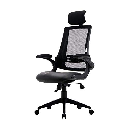 Office Chair – with Adjustable Headrest and Armrests, 90°-110° Tilt Lock, Leather Seat Computer Desk Chair and Lumbar Support ()