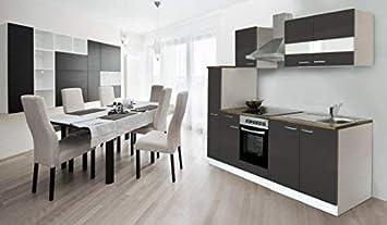 Marvelous Respekta Küche Küchenzeile Einbauküche Küchenblock 240 Cm Weiss Grau Soft  Close Ceran