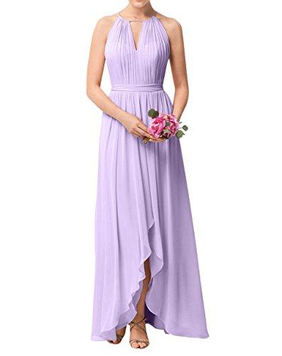 La_mia Brau Einfach Chiffon Abendkleider Brautjungfernkleider Partykleider Festlichkleider Langes A-Linie Rock Lilac