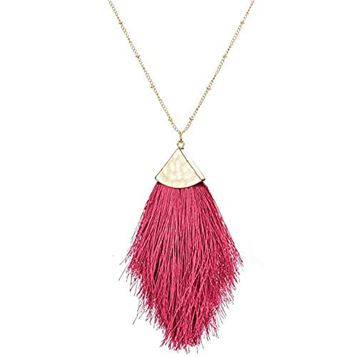 Red Tassel Statement Long Necklaces for Women Feather Fringe Pendant Necklace