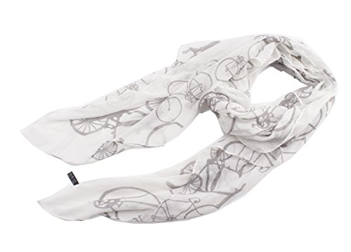 Quest Sweet Soft Voile Fabric Sheer Infinity Bicycle pattern Scarf White
