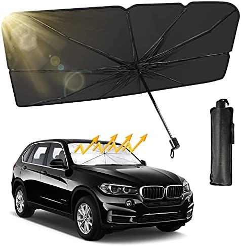 """Truck SUV Car Windshield Sun Shade, Foldable Car Sunshade Umbrella for Car Front Window/Auto Windshield Covers Keeps Cars Interior Cool, Large Size 57"""" x 31"""", Fit Most Vehicle"""