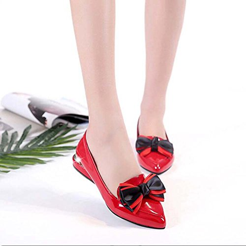 Rojo Tacón Solapa Rojo Talla Cuadrado bajo Tamaño de Zapatillas de Primavera 35 Slip Negro para Color 38 Tacón Mujeres con Zapatos on Zapatos y Verano 39 wvqU0pHwn