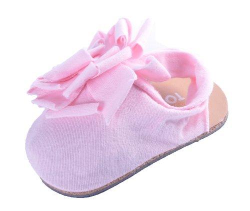 Scarpa Sandalino da Culla in Cotone Neonato Bambina con Dettaglio Floreale Elegante - 0-6 mesi, Rosa Chiaro