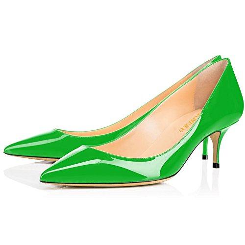 Low Kmeioo Pumps Slip Kitten Women's Women Office Pumps for Pointed Green Heels Heels Toe On HwvqTHx