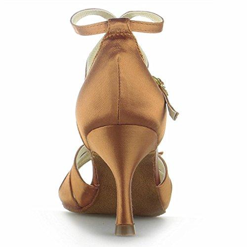 Jia Jia Y20526 Damen Sandalen Ausgestelltes Heel Super-Satin Latein Tanzschuhe Braun