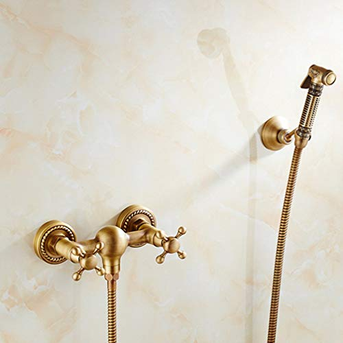 LUDSUY Faucet Antique Solid Brass Tube Cold And Hot Water Shower Mixer With Bidet Shower Head Double Handle Tap Crane