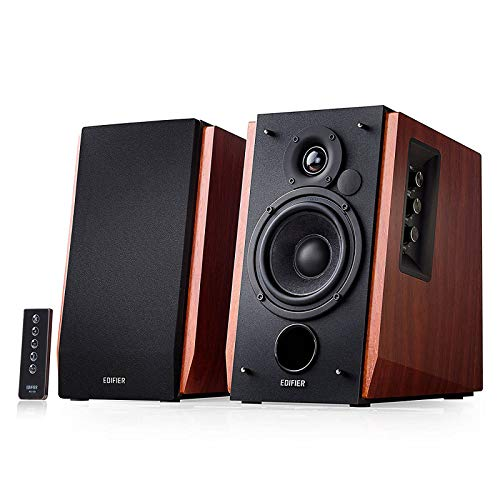 Edifier R1700BT Bluetooth Bookshelf Speakers - Active Near-Field Studio Monitors - Powered Speakers 2.0 Setup Wooden Enclosure - 66w RMS (Bluetooth Speaker Shelf)