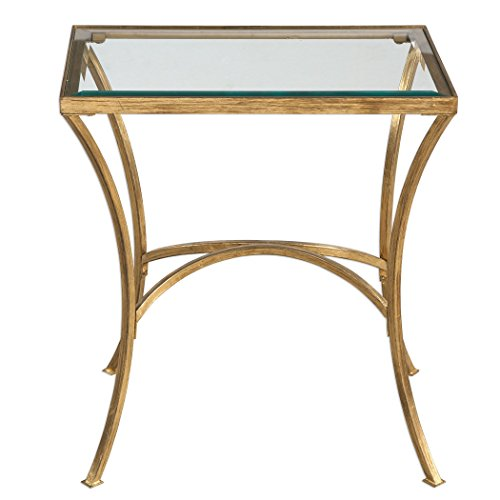 MY SWANKY HOME Minimalist Gold Arch End Table | Metal Glass Top Side Accent Modern Contemporary