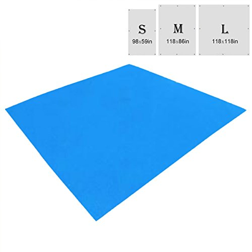 Tent Floor Saver (TRIWONDER Waterproof Hammock Rain Fly Tent Tarp Footprint Camping Shelter Ground Cloth Sunshade Mat for Outdoor Hiking Beach Picnic (Blue, L - 118 x 118in))