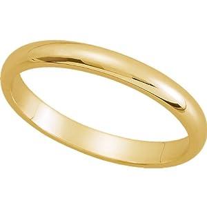 Womens 18K Yellow Gold, Half Round Wedding Band 2MM