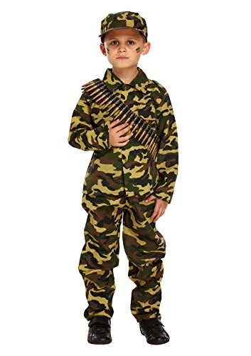 GUBA® Army Boy Kids Soldier Camouflage Fancy Dress Costume Outfit Bullet Belt Dog Tag (7-9 Years, Army Costume+96 Bullets) ()