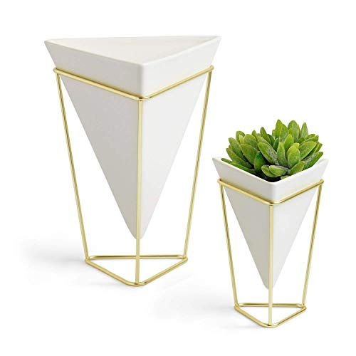 2-Pack White Geometric Vase Set, Big & Small Modern Desktop Planters for Succulents, Small Artificial Plants, Faux Flowers, Cactus Plants & More, Ceramic Planter with Stand, Indoor Desk Plant Pots