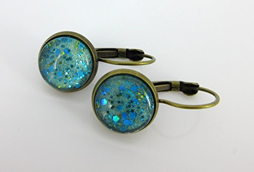 Antiqued Gold-tone Seafoam Green and Blue Glitter Glass Lever-back Drop Earrings Hand-painted (Sea Bezel Glass)