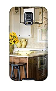 High Grade Chris Bullock Flexible Tpu Case For Galaxy S5 - Traditional Kitchen With A Brown Island