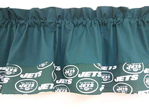 Green with Jets NFL football team fabric on the bottom Two tones combo colored, Window treatment, sports, playroom, children, Basement, Man-cave decor. Custom Rod pocket 55 wide. Teens