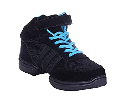 Nene's Collection Women's Dance Fitness Shoes High Top Sneakers (6, Black)