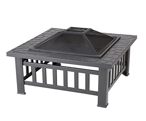 Fire Sense 62249 Stone Mont Square Fire Pit, Black