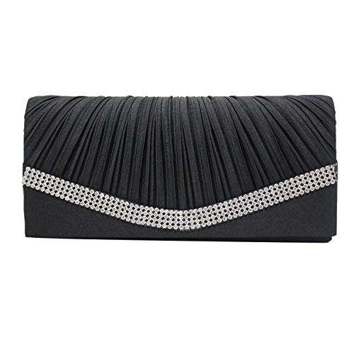 Women Satin Rhinestone Evening Clutch Bag Ladies Day Clutches Purses Chain Handbags Wedding Party Feminina,Black