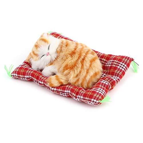 [해외]미니 좋은 귀여운 작은 시뮬레이션 동물 공예 인형 인형 게으른 자는 고양이 건강 한 아 이들의 장난감 생일 선물 인형 봉 제 인형-노랑 / Mini lovely cute little simulation animal craft doll stuffed toy lazy sleeping cat healthy kids toy b...