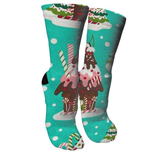 New Holiday Gingerbread Houses Knee High Graduated Compression Socks for Women and Men - Best Medical, Nursing, Travel & Flight Socks - Running & Fitness - House Ingredients Gingerbread