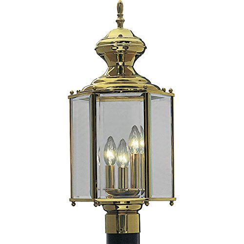 Fixture Beveled Light Glass Clear - Progress Lighting P5432-10 Hexagonal Post Lantern with Clear Beveled Glass, Polished Brass