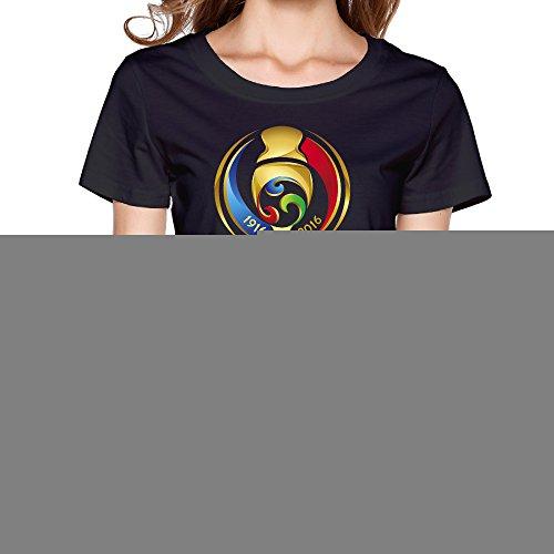 Fashion Womens Copa America 2016 Tshirts Black Size Xs