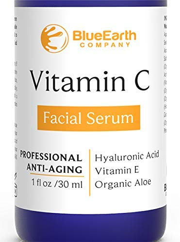 (BlueEarth Company Vitamin C Serum for Face with Hyaluronic Acid + E + Aloe - Best Organic, Natural Facial and Eye Anti-Aging Topical Treatment to Fight Wrinkles, Fine Lines, and)