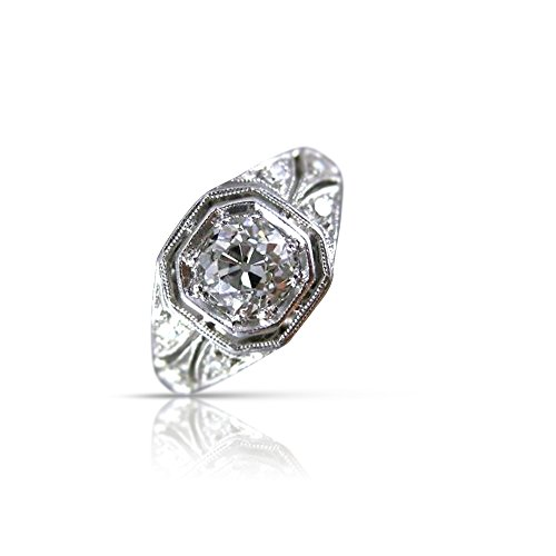 Milano Jewelers .82CT OLD MINE DIAMOND PLATINUM FILIGREE OCTAGON ENGAGEMENT RING 26302 -