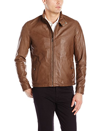 Cole Haan Men's Burnished Lamb Leather Jacket, British Tan, Medium