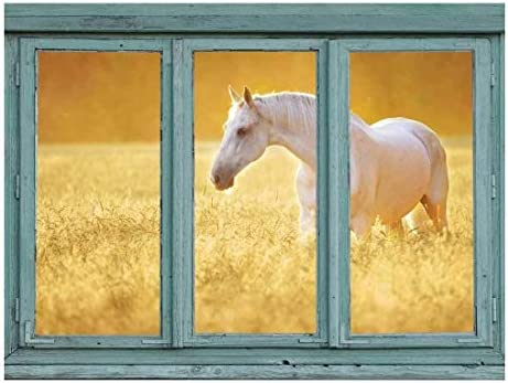 Perfectly White Horse in a Wheatfield - Golden Sunny Haze - Wall Mural, Removable Sticker, Home Decor - 36x48 inches