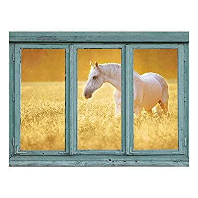 Elegant Picture, Perfectly White Horse in a Wheatfield Golden Sunny Haze Wall Mural, Classic Artwork