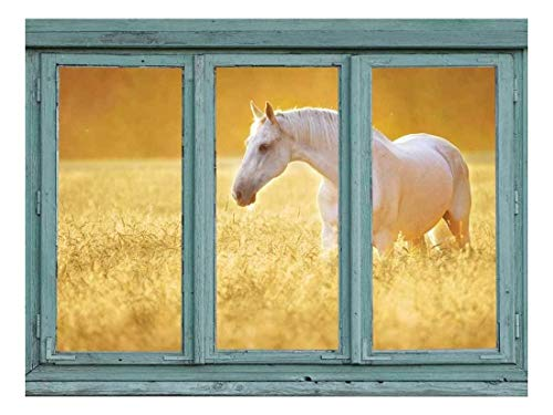 Perfectly White Horse in a Wheatfield Golden Sunny Haze Wall Mural