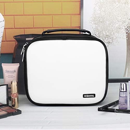 化粧品収納ボックス 化粧品収納ボックス付きポータブル分類済みスーツケース多層大容量化粧品バッグ模造革ブラックレッドピンクブルー SPFOZ (Color : Black)