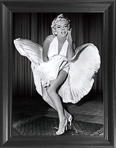 3 D Movie Posters - Marilyn Monroe White Dress 7 Year Itch 3D Wall Art Movie Poster Framed – Black & White - 14.5x18.5 – Vintage Iconic Lenticular Posters, Flips Between Images! Cool Print, Unique Modern Décor Pictures